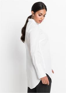 Dames longblouse lange mouw in wit