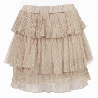 Mesh Ruffle Skirt - Beige