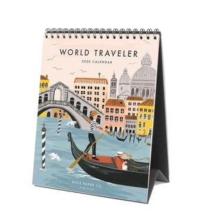 Desk calendar, 2020, World Traveler.