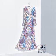 Zuivere zijden maxi-jurk met print Gigi Hadid