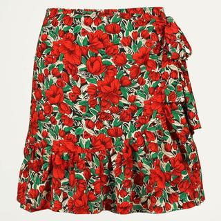 Rode overslagrok bloemen & ruffles