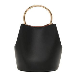 handtas met metalen handvat zwart