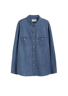 Denim blouse met medium wassing