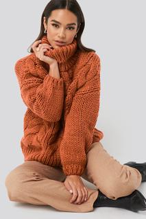Wool Blend High Neck Heavy Cable Knitted Sweater