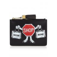 Moschino Clutch met Clothes for Construction-print