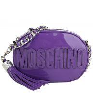 Moschino Schoudertassen - Oval Patent Crossbody Logo Purple in purper voor dames