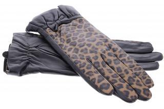 Zwarte echt lederen touchscreen handschoenen met panterprint en strik - Maat L