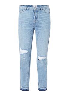 Mom-fit high rise vintage jeans met destroyed details