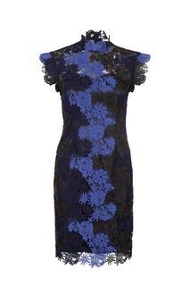 Kanten jurk blauw zwart