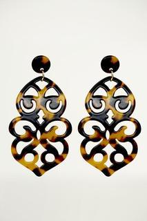 Brown Resin Chandelier Earrings