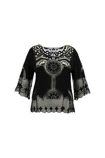 MS Mode Dames Crochet top Zwart