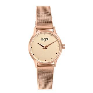 horloge met een rosekleurige kast en band
