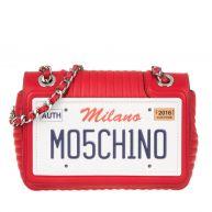 Moschino Schoudertassen - California License Plate Leather Bag Red in rood voor dames