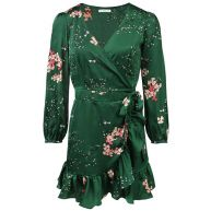 Flower Wrap Dress - Green
