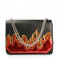 Zwarte schoudertas met vlammen