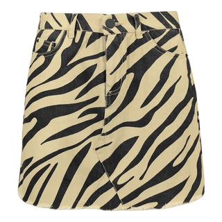Beige spijkerrok zebraprint