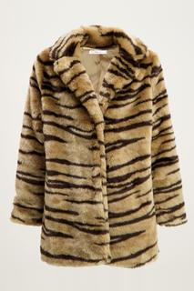 Beige fake fur jas zebra