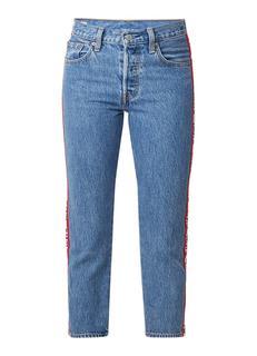 501 cropped slim fit jeans met logoband