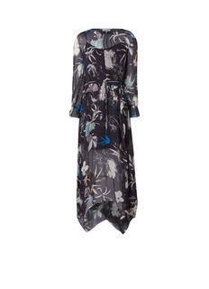 Carina semi-transparante maxi-jurk met bloemendessin en onderjurk