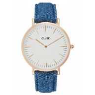 Cluse LA BOHÈME Horloge rose goldcoloured/white/denim