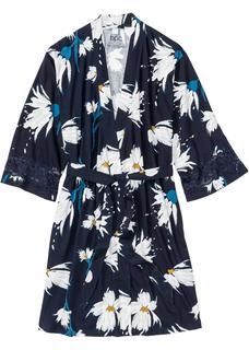 Dames kimono van shirtstof lange mouw in blauw