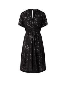 Ring midi-jurk met pailletten en V-hals