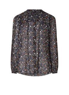 Gently blouse van chiffon met bloemendessin