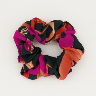 Scrunchie paars oranje bloemen