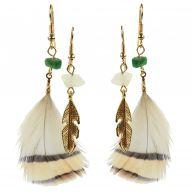 Sacha Dubbele veren oorbellen - goud