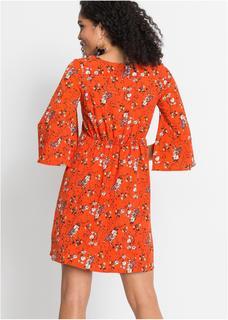 Dames jurk halve mouw in oranje