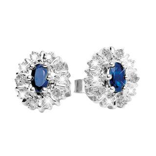 14karaat witgouden oorbellen met diamant & saffier