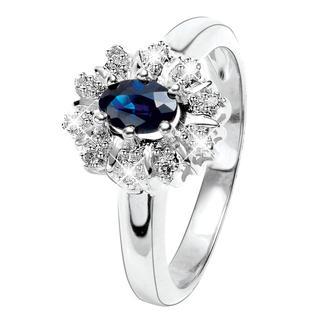 Witgouden ring met diamant en saffier