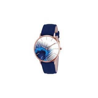horloge met blauwe leren band