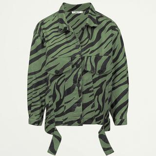 Groene oversized spijkerjas zebraprint