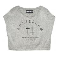 AMSTERDAM CROPPED TOP GREY
