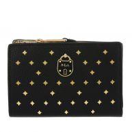 Lauren Ralph Lauren Kleine lederwaren - New Pebbled Compact Wallet Small Black/goud in zwart voor dames