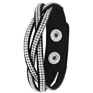 Byoux armband vlecht zwart en zilverkleurig