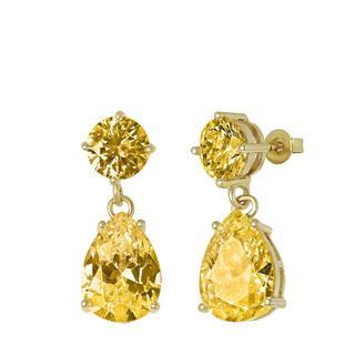 Goldplated oorbellen met light topaz zirkonia