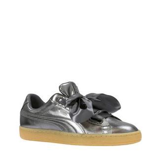 Basket Heart Luxe sneakers leer metallic grijs