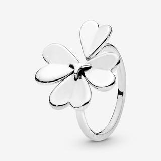 Lucky Four-Leaf Clover Open Ring, Sieraden uit Sterling zilver, No stone, 197949-52
