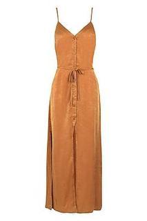 Nicole Hammered Satin Button Maxi Dress
