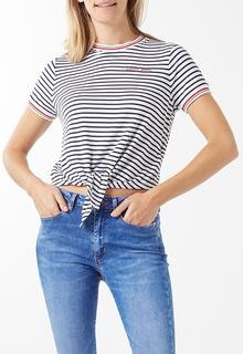 Front Tie Contrast Rib T-shirt