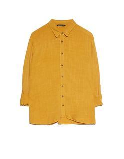 Soepele blouse met knopen Oker
