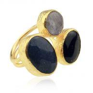 My Jewellery Gold Trio Gem Ring - Grey Dark