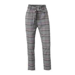 gestreepte high waist skinny pantalon grijs/roze/paars