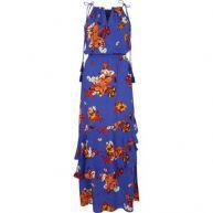Blauwe hoogsluitende maxi-jurk met bloemenprint en kwastje
