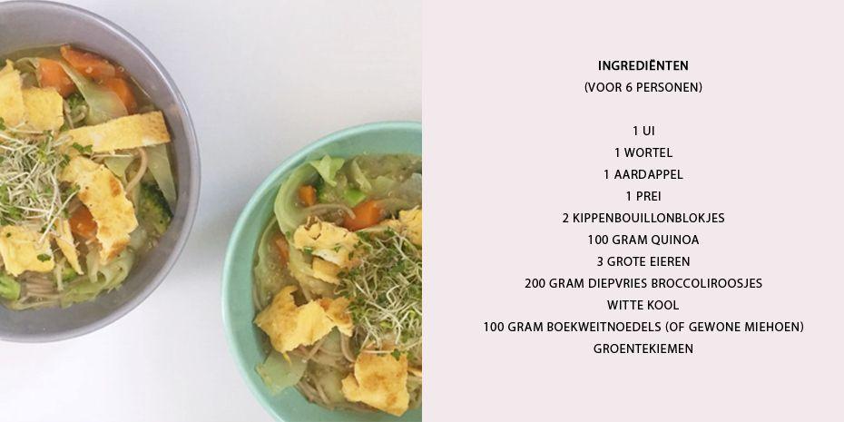Maaltijdsoep met broccoli, omelet en kiemen