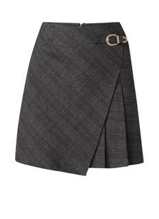 Jinda mini A-lijn rok met gesp en ruitdessin