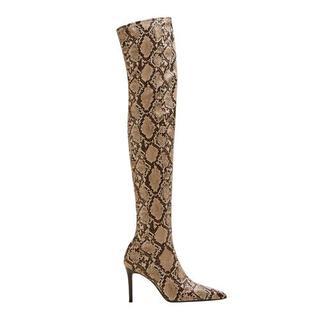 imitatieleren overknee laarzen met slangenprint beige (dames)