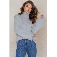 NA-KD Wide Sleeve High Neck Sweater - Grey